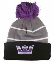 Supra Black Purple Grey Knit Pom Winter Skate Fold over Beanie NWT