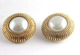 Chanel Vintage Earrings Gold tone Faux Pearl Cl... - $222.75