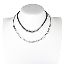 UE- Trendy Jet Black and Silver Tone Designer Choker & Necklace Combination - $21.99