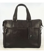 Nwt Python Embossed Italian Leather Laptop Bag Briefcase Coffee Brown - $131.62
