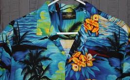 Royal Creations Hawaiian Mens Shirt XL Palms Sunset Aloha Orchid  - $21.28