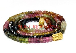 "AAA+ Natural Multi Tourmaline 3-4mm Rondelle Faceted Beads 24"" Beaded Ne... - $38.79"