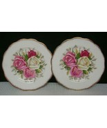 LADY SYLVIA 2 Bread & Butter Side Plates by QUEEN ANNE England Large Ros... - $19.39