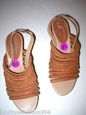 New $235 Womens 8.5 Donald J Pliner Wedge Platform Sandals Brown Shoes Suede image 6
