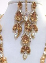 Beige Gold Pearls Indian Ethnic Jewelry Necklace Earrings Kundan New Bridal Set image 3