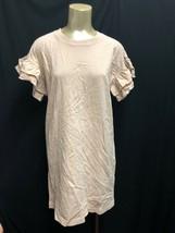 IRR Current Elliott T-Shirt CARINA Dress Ruffles Sleeves Pale Pink 100% ... - $13.99