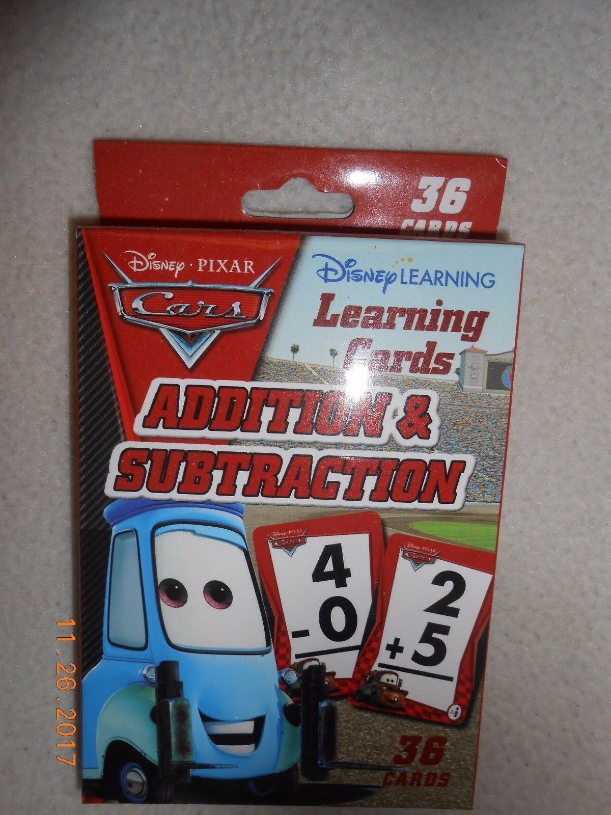New Disney Pixar Cars 36 Cards Addition & Subtraction w/ answers Stocking Stuffe image 3