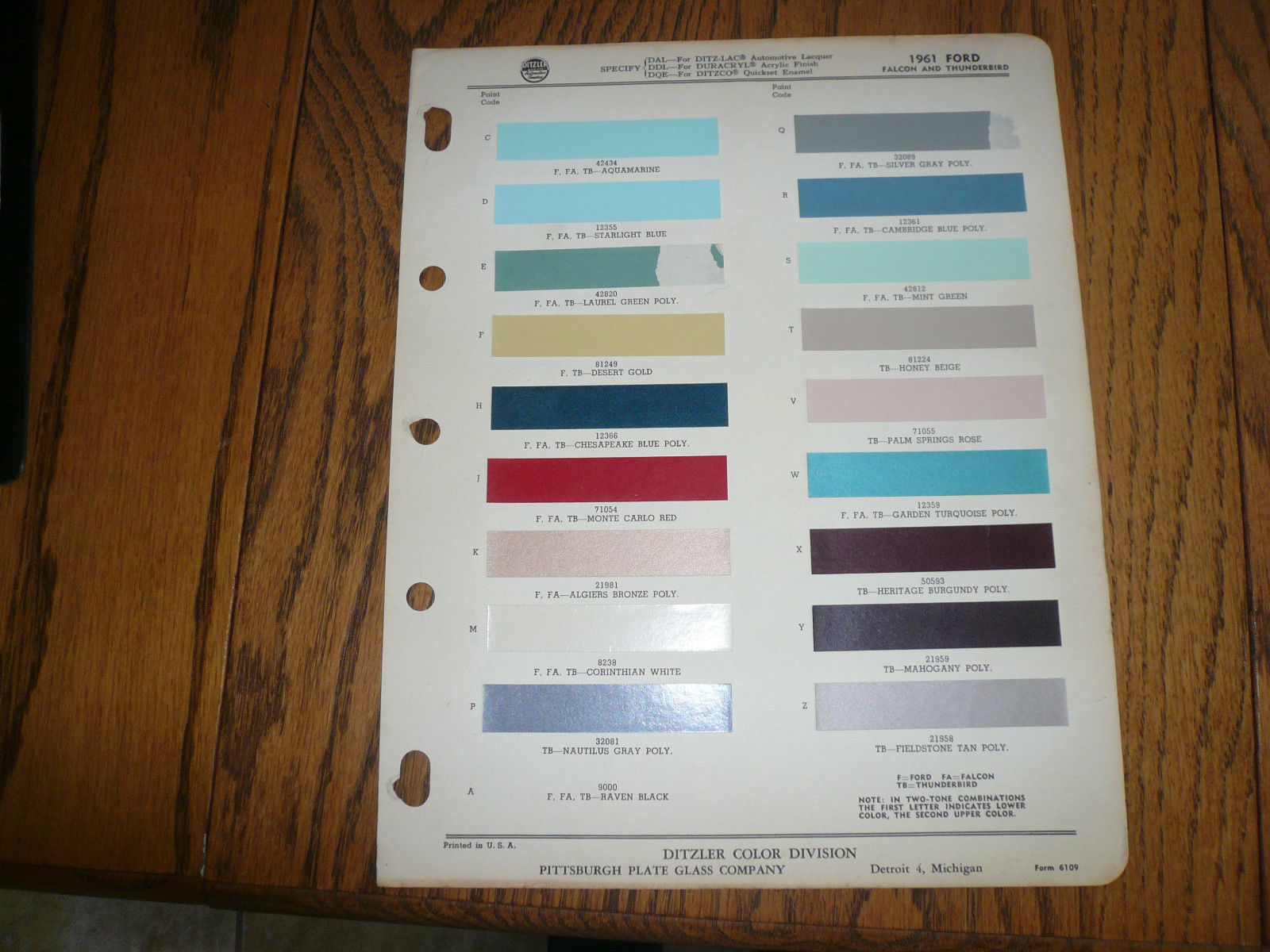 1961 Ford Ditzler Ppg Color Chip Paint And 50 Similar Items 1964 Dodge Chips Sample Falcon Thunderbird