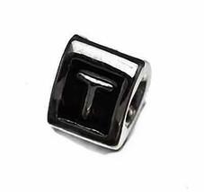 NICE Letter T Initial European Bead for bracelet Sterling Silver .925 je... - $18.37