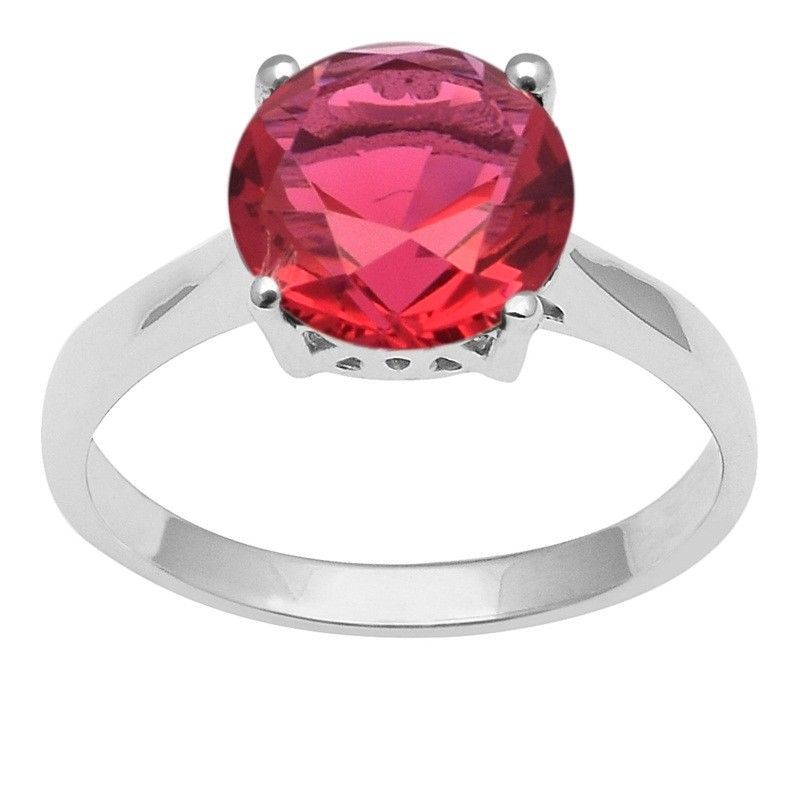 Red Cubic Zirconia 925 Sterling Silver Ring Shine Jewelry Size-8.5 SHRI1422