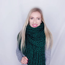 Hand knit long scarf women Extra large winter scarf Knitted big shawl Gr... - $69.00