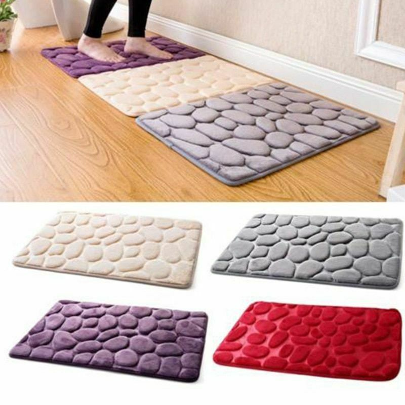 Pebble Flannel Non Slip Rug Foam Pad Mat Floor 40*60cm Carpet Home Garden Decor