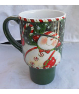 LANG TRAVEL MUG CUP COFFEE SAM'S CANDY CANE 5036011 SUSAN WINGET SNOWMAN - $15.83