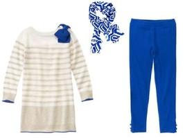 Gymboree 4 Mod About Orange Sweater Dress Blue Leggings Geometric Scarf NWT - $17.75