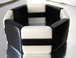 Vintage Lucite Black and White Modernist Stretch Pop Art Bracelet 1960s - $25.00