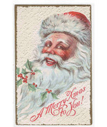 Santa Large Image Holly Berry Christmas 1910c postcard - $11.88