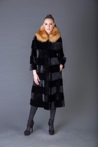 Luxury gift/Beaver fur Coat/Red Fox Collar/Fur jacket full skin / Weddin... - $1,250.00