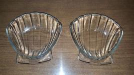 LOT 2 Sovirel France Clam Shell Scalloped clear Glass Dish Bowl plate bo... - $14.93