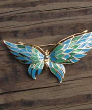 Vintage Crown Trifari© Blue and Green Enameled Butterfly Brooch - $275.00