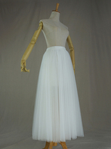WHITE Tulle Midi Skirt A Line High Waisted Tulle Skirt Wedding Skirt image 3