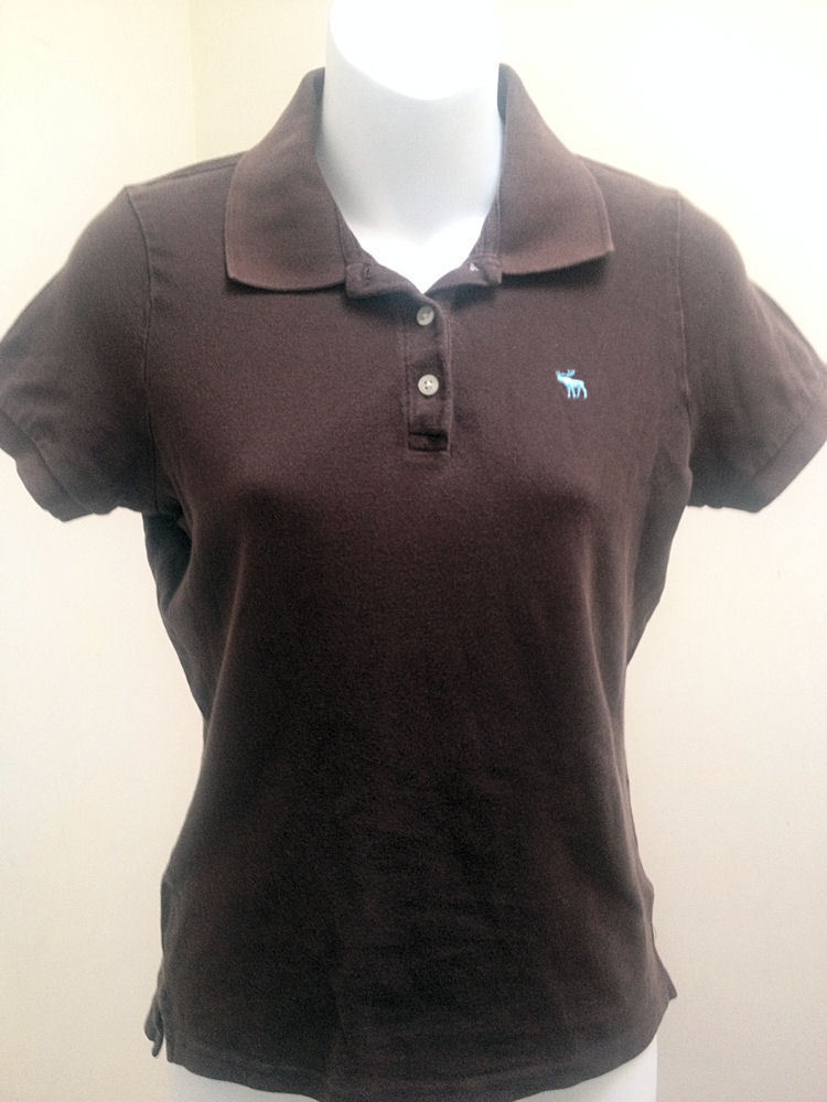 Primary image for Abercrombie & Fitch Girls L Polo Shirt Brown Top School