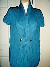 SONOMA COTTON TEAL SHORT SLEEVE CARDIGAN SWEATER SIZE XL - $17.41