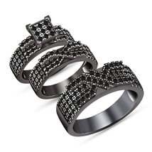 10k Black Gold Finish Diamond His Her Men Womens Engagement Bridal Trio ... - $162.98