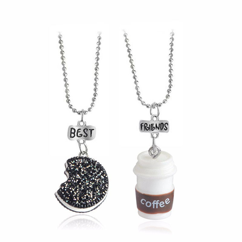2 pieces / set of mini Oreo biscuits and coffee pendant necklace Best friend and - $15.70