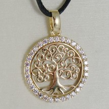 18K YELLOW GOLD TREE OF LIFE PENDANT, 0.75 INCHES, ZIRCONIA, MADE IN ITALY image 2