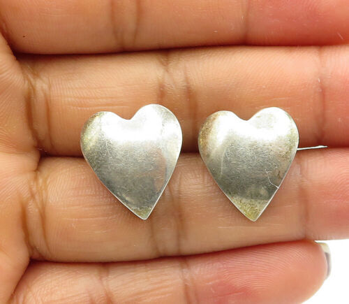 Primary image for 925 Sterling Silver - Vintage Smooth Love Heart Designed Stud Earrings - E6879
