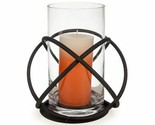 Glass Hurricane Candle Holder Iron Large Clear Pillar Dark Bronze Decor Gift New
