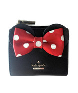 Kate Spade x Minnie Mouse Leather Mini Wallet ~ Adalyn Black Bow Polka D... - $99.95