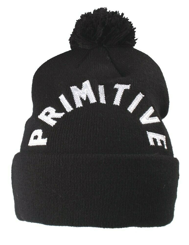 Primitive New Era Black White Embroidered Arc Pom Beanie Winter Skate Hat NWT