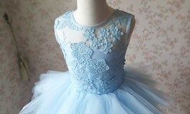 A-Line/Princess Knee-length Flower Girl Dres Blue Tulle/Lace Flowers Puffy 4-16 image 8