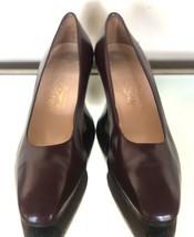 Salvatore Ferragamo Classic Leather Pumps Burgundy WMS Size 8B - $45.52