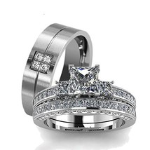 LOVERSRING Couple Ring Bridal Set His Hers White Gold Plated CZ Stainles... - $23.94