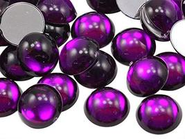 KraftGenius Allstarco 15mm Purple Amethyst H105 Round Flat Back Acrylic Cabochon - $4.66