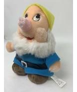 "Disney Store Snow White HAPPY DWARF 7"" Plush Stuffed Animal Blue Jacket ... - $9.50"