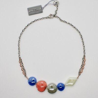 HALSKETTE ANTIKE MURRINA VENEDIG MIT MURANO-GLAS ORANGE BLAU GRAU COA87A46