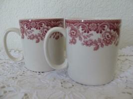 2 Spode Delamere Cranberry Mugs 8 oz Coffee Tea Floral Red White S3784-A8 - $24.99