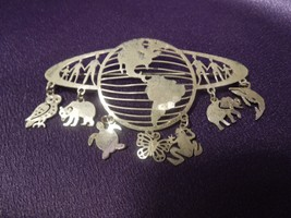 WILD BRYDE 1980'S World Animals Owl Turtle Butterfly Frog Silvertone Pin... - $31.19