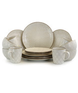 Elama White Lily 16 Piece Luxurious Stoneware Dinnerware with Complete S... - $75.30