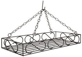 LARGE WROUGHT IRON POT & PAN SCROLL RACK ~ Hanging Holder with 8 Forged ... - $128.67