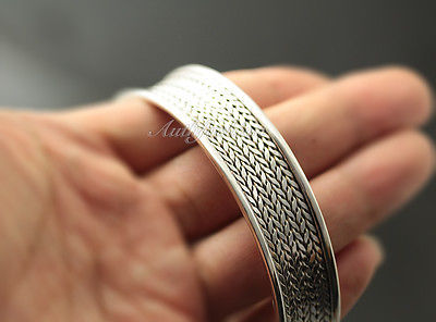 Mens Sterling Silver Bracelet Woven Wheat Bangle Cuff Handcrafted Hip Hop b24 image 6