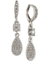 new GIVENCHY Pave Pear-Shape Drop Earrings silver tone metal vintage loo... - $39.50