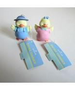 2 Vintage 1990 Hallmark Easter Trimmer Boy & Girl Duck Ornaments EHD1056... - $12.50