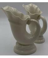 "Lenox Ivory Color Horn Of Plenty Vase 6"" Lot Of 2 USA Pair Of Vases 21-175 - $37.95"