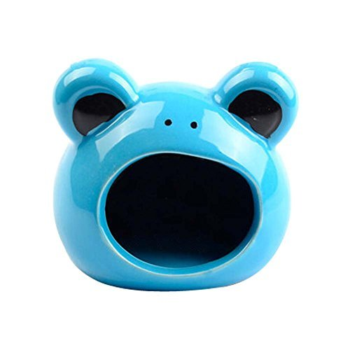Primary image for Panda Legends Blue Frog Ceramic Hamster Hideout Hut Cave Small Animals Summer Ha
