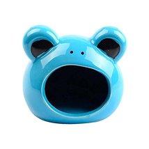 Panda Legends Blue Frog Ceramic Hamster Hideout Hut Cave Small Animals S... - $23.20