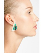 GUINEVERE Balin FASHION 80's Inspired TRIANGLE Earrings BLACK Turquoise ... - $61.06
